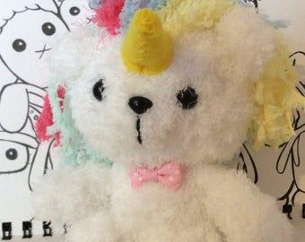 Crochet fleece unicorn teddy
