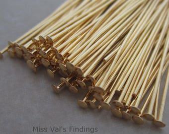 100 gold plated 1.5 inch headpins 21 gauge