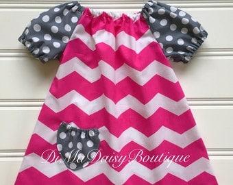 Hot Pink Dress for Girl, Baby Girl Dress, Girl Summer Dress, Little Girl Dress, Girl Pink Dress, Toddler Dress, Peasant Dress, Infant dress