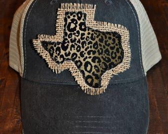 Black TEXAS Trucker Cap Hat with Leopard Print and Burlap