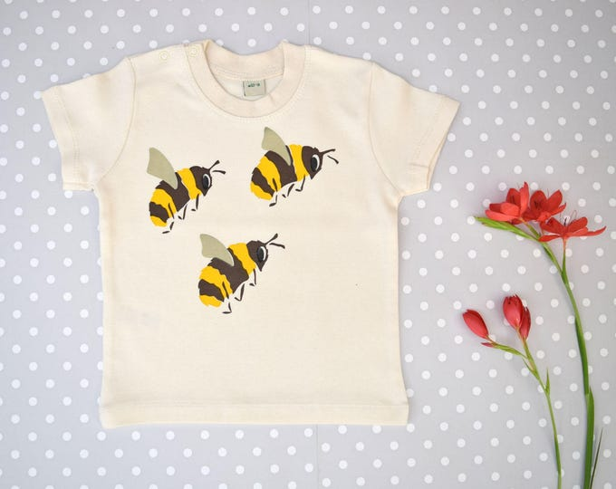 Bees baby t-shirt in organic cotton. Save the bees!