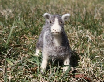 Needle Felted Gray and White Goat