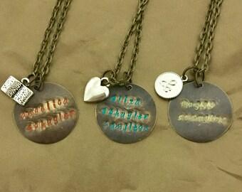 Angelica, Eliza, Peggy Schuyler Sisters Hamilton necklaces