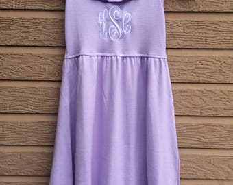 Monogrammed Girls Ruffle Knit Dress - LAVENDER Dress - Beach Pictures