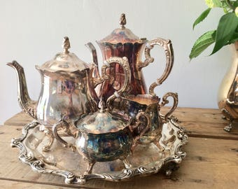 Vintage Leonard Silver Plate Tea & Coffee Service Set with Tea Pot, Coffee Pot, Sugar Bowl with Lid and Creamer and Wallace Serving Platter