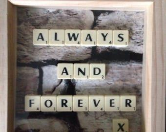 Wood Scrabble Frame -  Scrabble Art -  Scrabble Design - Handmade