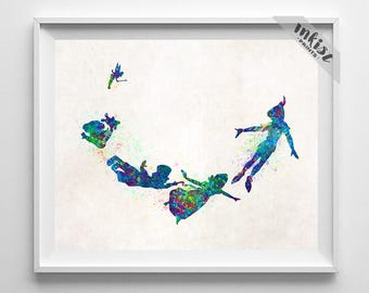 Peter Pan, Print, Disney Art, Watercolor Art, Peter Pan Art, Disney Poster, Peter Pan Decor, Gift Idea, Disney Gift, Type 2, Dorm Art