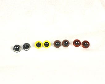 12mm Plastic Eyes for Stuffed Animals, brown, yellow, reddish/ amber OR Clear Safety Eyes, you choose or buy more than one and mix and match