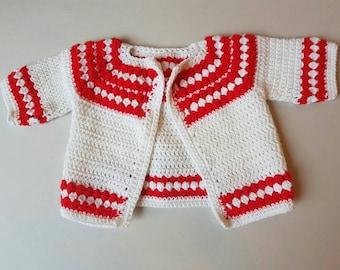 Vintage crochet baby sweater. 1990s
