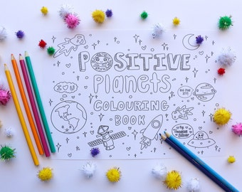 Positive Planets Colouring Book - PDF. A4 printable colouring in book. Self-Care. Hand illustrated.