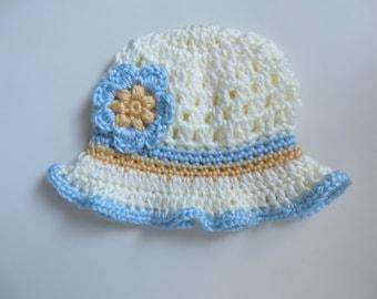 Crocheted 0-3 Months Baby Girl Forget me Not Flower Sun Hat Fluted Ruffle Brim Cream Light Blue Yellow Spring Summer Hat Easter Bonnet