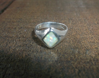Vintage Sterling Silver Opal Ring with Inlaid Opal in Diamond Shaped Front, Unique Sterling Ring Size 5, Signed SC, Sterling