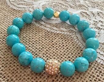 Boho Chic Beaded Bracelet Turquoise Howlite