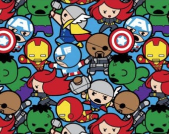 1 yard marvel Kawaii Fabric / Avengers Fabric / Marvel Comic /  Fabric By The Yard