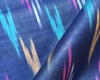 Pure Linen Cotton Handloom Ikat fabric, Dress Fabric,Ikat fabric ,Cotton Linen Fabric by yard
