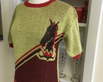 1950s  50s Vintage Horse Cable Knit Novelty Sweater