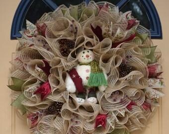 Jute Deco Mesh Winter Wreath~Rustic and Elegant Snowman Wreath~Jute Deco Mesh Ruffle Wreath~Snowman Deco Mesh Wreath