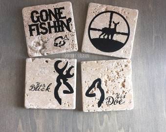 Outdoor Home Decor, Hunting Decor, Fishing Decor, Custom Coasters, Fathers Day Gift