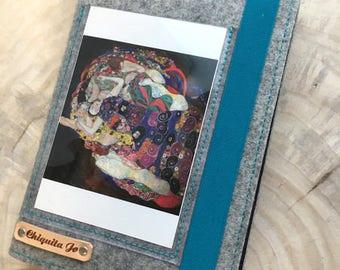 Calendar cover with post card cover wool felt & canvas