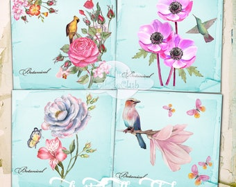 Botanical Flowers and Birds Digital Collage Sheet Images for Coasters, Cardmaking, Background, Journaling, ATC, Scrapbooking