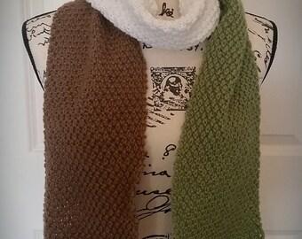 Long scarf/ white, brown, green