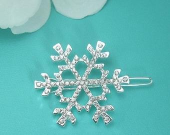 SALE Ends Sunday Snowflake Wedding Clip, Crystal Rhinestone Snowflake Comb, Wedding Comb, Bridal Hair Comb, winter wedding comb, Christmas C
