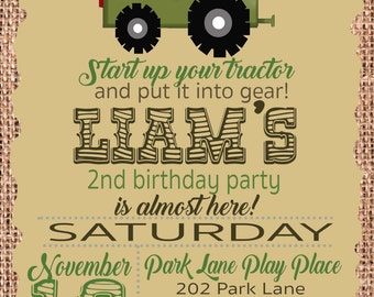 Tractor Birthday Party Invitation for John Deere and farm birthday parties