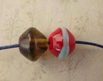 SALE Red Glass Lampwork Beads x 2, Handmade Artisan Focal Beads (8x11mm), Summer Beads, Gabi Sarisin, Jewellery Making Supplies UK Seller