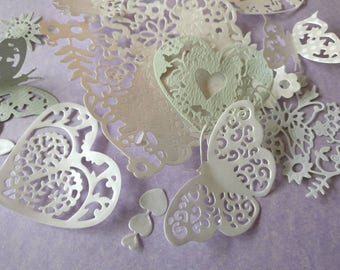 Selection of 20 die cut hearts, flowers, butterflies for card making, scrap booking