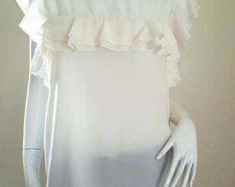 Vintage Ivory ruffle blouse size 36 Small.