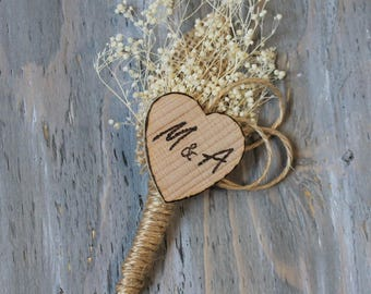 Rustic Boutonniere Personalized Boutonniere Groom Boutonniere Groomsman Boutonniere Dried Flowers Wedding  Boutonniere  Ivory Boutonniere