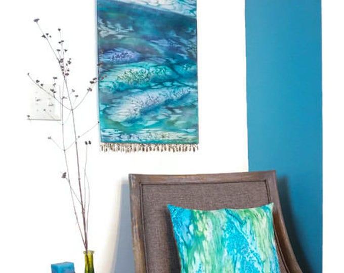 Coastal Wall Art-Ocean, Beach, Nautical Decor-Watercolor Silk Tapestry-Gift For Her