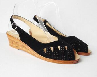 Black Velvet Vintage Suede Sandals // Slingback // Vegan // Size 40