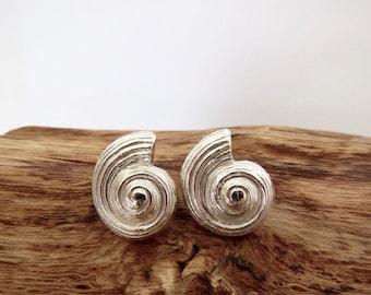Spiral fossil fine silver stud earrings