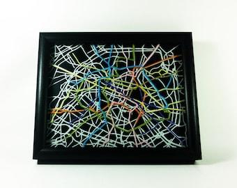 """Paris Metro Map - 8""""x10"""""""