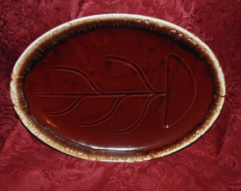 McCoy Brown Drip Glaze Large Meat Platter with Dripping Wells