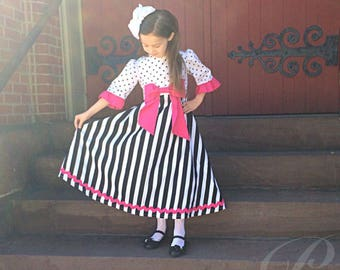 GIRLS MODEST DRESS polka dot dress full skirt