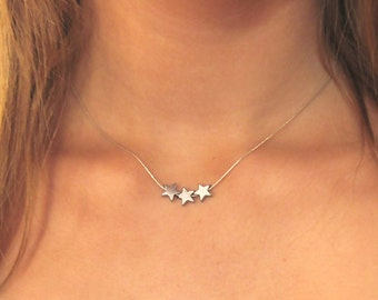 Three Star Necklace , Sterling Silver Tiny Stars Necklace , Layered Necklace , Star Necklace , Dainty Necklace , Bff Necklaces , Choker