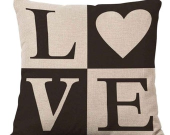 LOVE on Black and White Squares - Pillow Cover