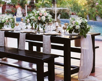 Flowy Gauze Natural Organic Cotton Gauze Table Runner--Lots of COLORS To Choose! Rustic Wedding, Outdoor Beach Wedding, Farm Table Wedding