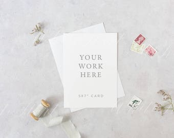 """Styled stock photography - 5x7"""" stationery mockup - white card and envelope - High Res Jpeg + Psd Smart object - weddings, card, invitations"""