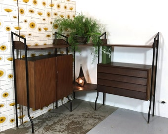 Modular corner cabinet produced in Italy in the sixties.