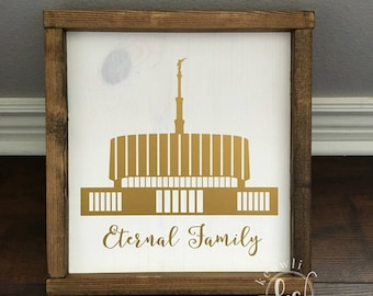 Provo Temple wood sign-framed, Ready to Ship, 10.75x11.5