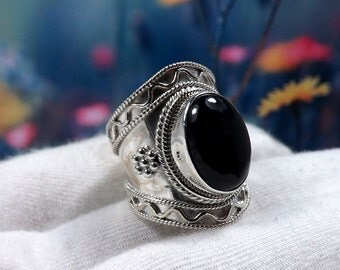 Black Onyx Ring, Onyx Ring, 925 Sterling Silver, Women Ring, Hammered Ring, Women Gift, Jewellery Sale, Solid Silver Ring, Gift For Her
