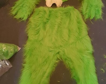 Christmas costume.green fur costume and prosthetic BUT no gloves grinchy