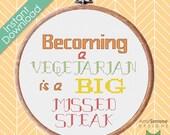 Vegetarian Joke Funny Humorous Cross Stitch Pattern