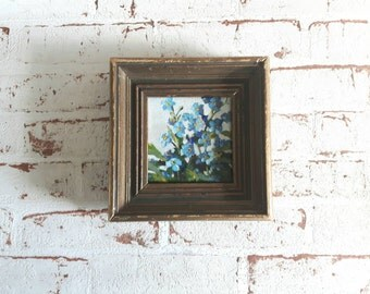 original acrylic painting, forget me not painting, flower painting, tiny painting, mini painting, floral art, small painting, small painting