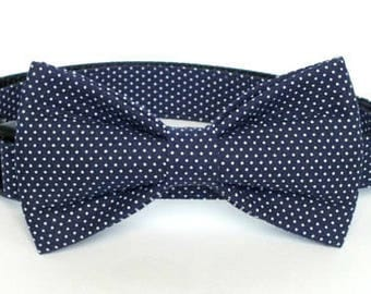 Navy Pin Dot Dog Bow Tie ONLY