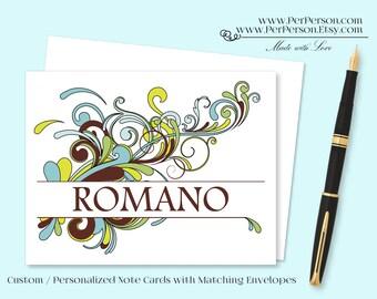 Free Ship!  Set of 12 Personalized / Custom Notecards, Boxed,  Flourish, Scroll, Blank Inside, Initials, Monogram, Name
