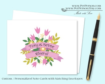 Free Ship!  Set of 12 Personalized / Custom Notecards, Boxed, Blank Inside, Floral Ribbon Banner, Pink, Green, Initials, Monogram, Name